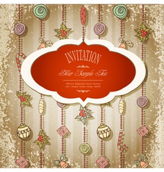 new retro background with christmas garland and to vector image