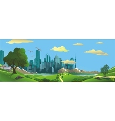 Panorama Landscape - the view from the hill to vector image vector image