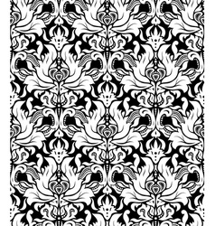 Seamless monochrome damask vintage pattern vector image vector image
