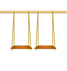 wooden swings hanging on ropes vector image