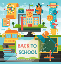 back to school education banner with book bus vector image