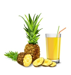 Pineapple juice glass vector image