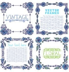 Set of ornate frames with floral elements vector