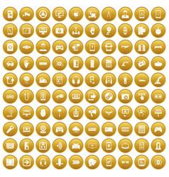 100 gadget icons set gold vector