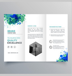 abstract grungy ink business trifold brochure vector image