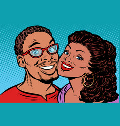 African couple kissing smiling vector