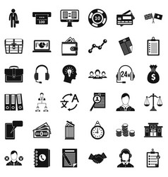 all day business icons set simple style vector image