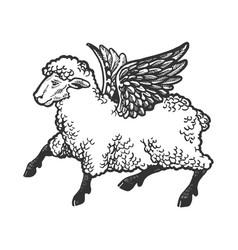 Angel flying sheep engraving vector