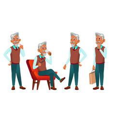 arab muslim old man poses set elderly vector image