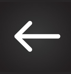 arrow left on black background vector image