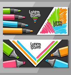 Banners with colorful markers vector