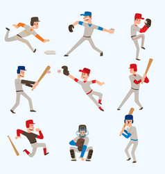 Baseball team players sport man in uniform vector