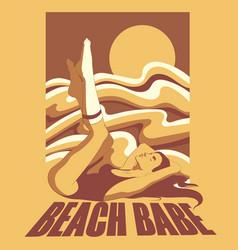 Beach babe hand drawn lying girl vector