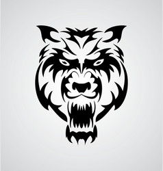 Big Cat Face Tribal vector