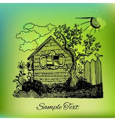 Black hand drawn country house landscape on vector