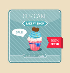 Blue cupcake with chocolate heart card vector