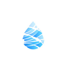 blue drop cut into pieces ocean storm wave vector image