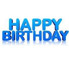 Blue happy birthday 3d card vector