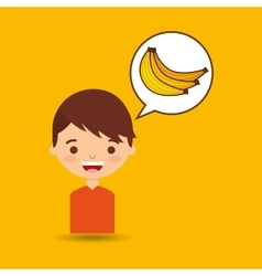 boy smiling cartoon banana icon design vector image