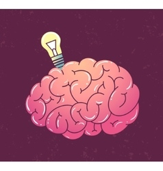 Brain with lamp vector