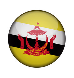 Brunei flag in glossy round button of icon brunei vector