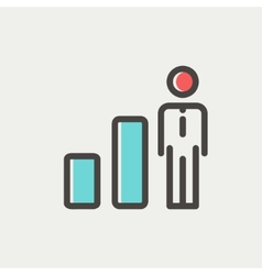 Businessman and graph thin line icon vector image