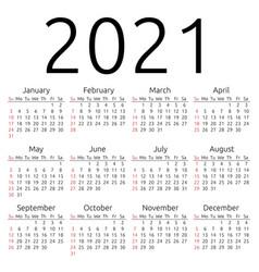 Calendar 2021 sunday vector