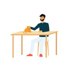 Cartoon man sitting at table petting a vector