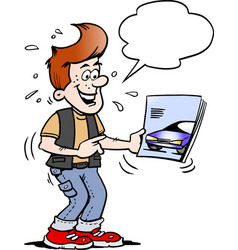 cartoon of a young man there looking at a new vector image
