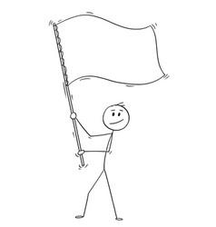cartoon of man waving white or empty flag vector image