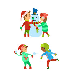 christmas holidays children building snowman vector image