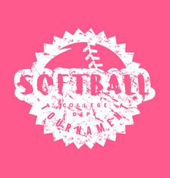 Circle emblem softball college tournament vector