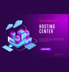 Colorful web design about hosting center vector