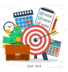 concept of tax day in flat style money calendar vector image