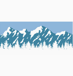 coniferous trees and mountain silhouettes vector image