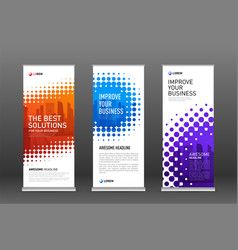 Construction roll up banners design templates set vector