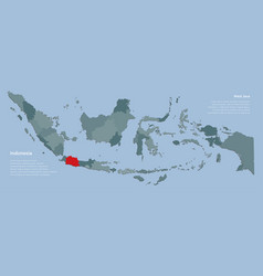 Country indonesia map template province west java vector