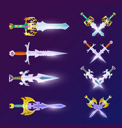 Crossed magic weapon set vector