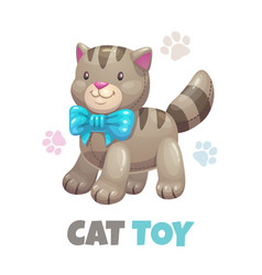 cute funny textile cat toy kitty icon vector image