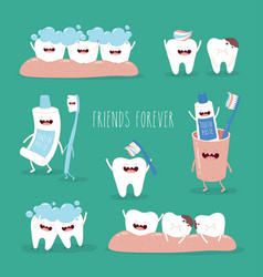 Cute tooth and dental floss flat design vector