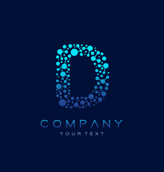 d letter logo science technology connected dots vector image
