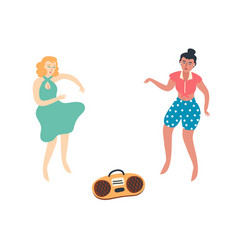 dancing girls flat art vector image