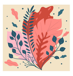 decorative foliage and flora blooming flowers and vector image
