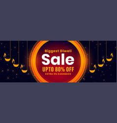 Diwali sale banner with decorative diya design vector