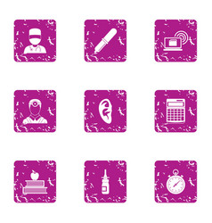 ear doctor icons set grunge style vector image
