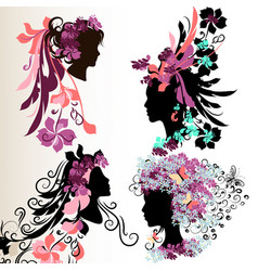 Fashion abstract female face silhouettes vector