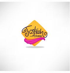 fashion store logo geometrical background hand vector image