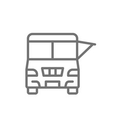 fast food truck festival car line icon vector image