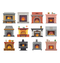 Fireplace house christmas wood fire place vector