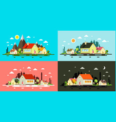flat design buildings night and day abstract vector image